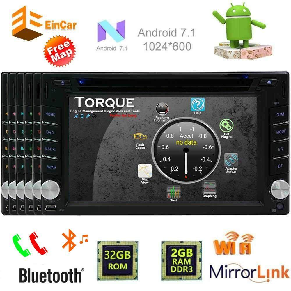 "Android 7.1 Octa Core 32GB+2GB Double 2 Din Car Stereo Radio Bluetooth GPS Navigation DVD CD Player 6.2"" Touch Screen - Support WIFI MirrorLink Subwoofer AUX Front/Backup Camera USB SD DVR Car GPS Stereo Radio Capacitive Touch Screen GPS Navigation"