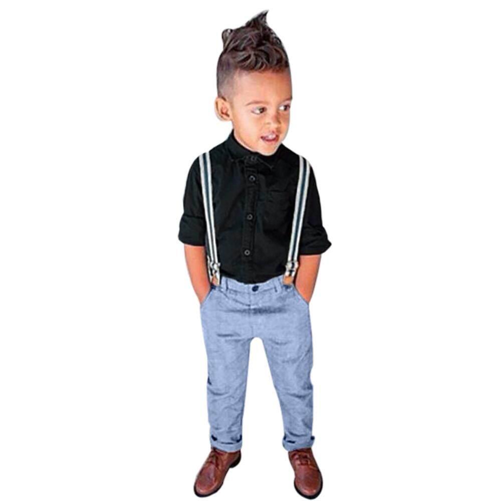 e3d234d92 Lawsonshop_1Set Kids Baby Boys Long Sleeve T-Shirt Tops+Braces+Trousers  Clothes Outfits