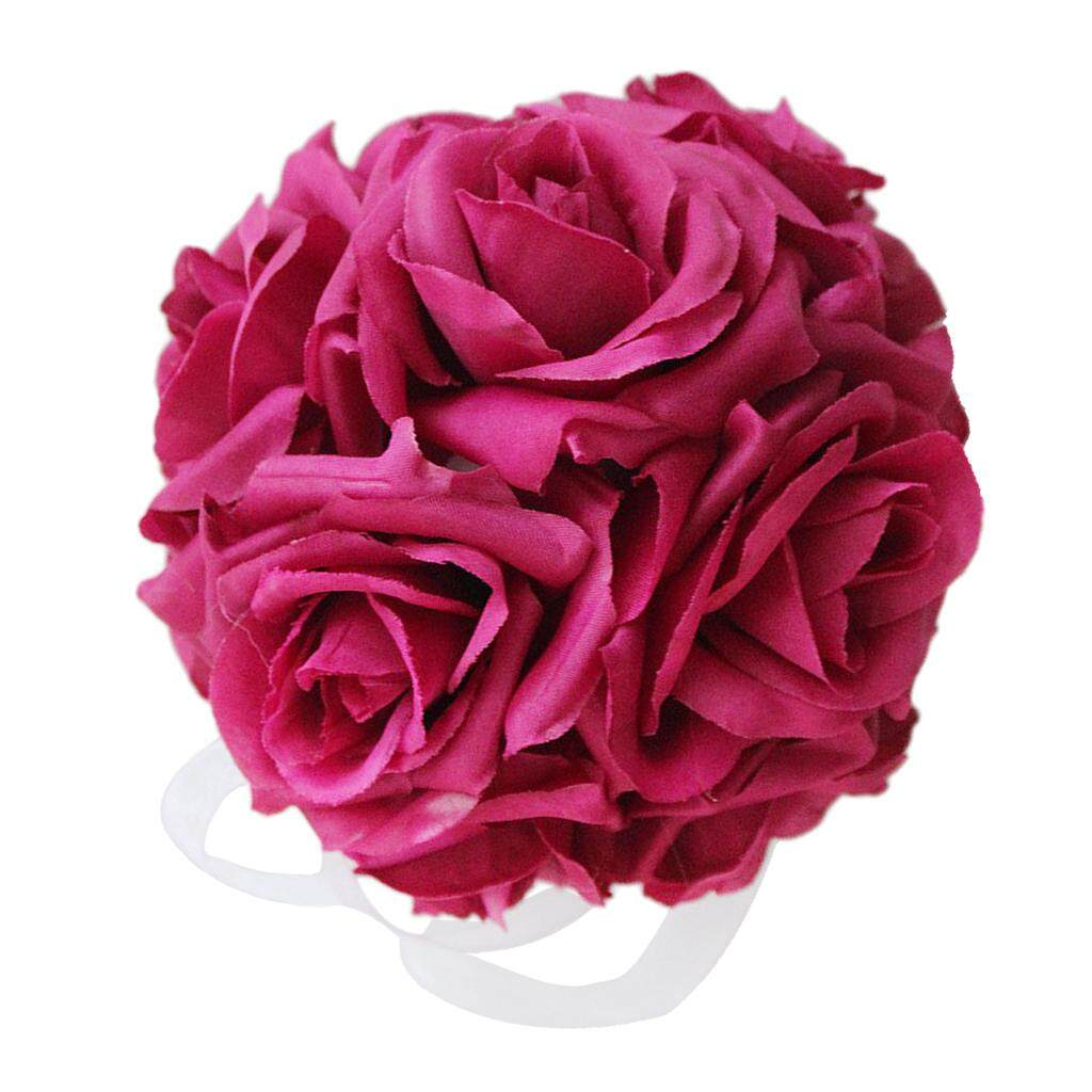 GuangquanStrade Silk Rose Bouquet Artificial Flower Balls For Wedding Decor red