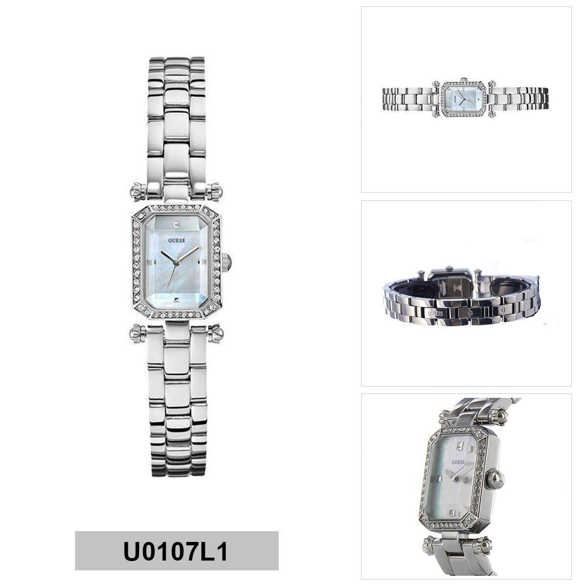 Guess W0632l1 Shimmer Jam Tangan Wanita Silver Diamond Krystal Mini Sunrise W0623l1 Original Rectangular Stainless Steel Case Bracelet Ladies U0107l1
