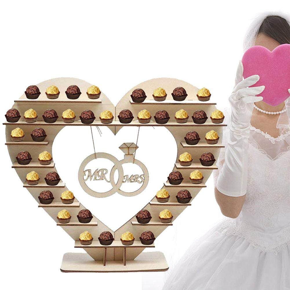 Wooden Mr & Mrs Chocolate Stand Heart-shaped Candy Showing Stand Perfect Decoration for Wedding Reception