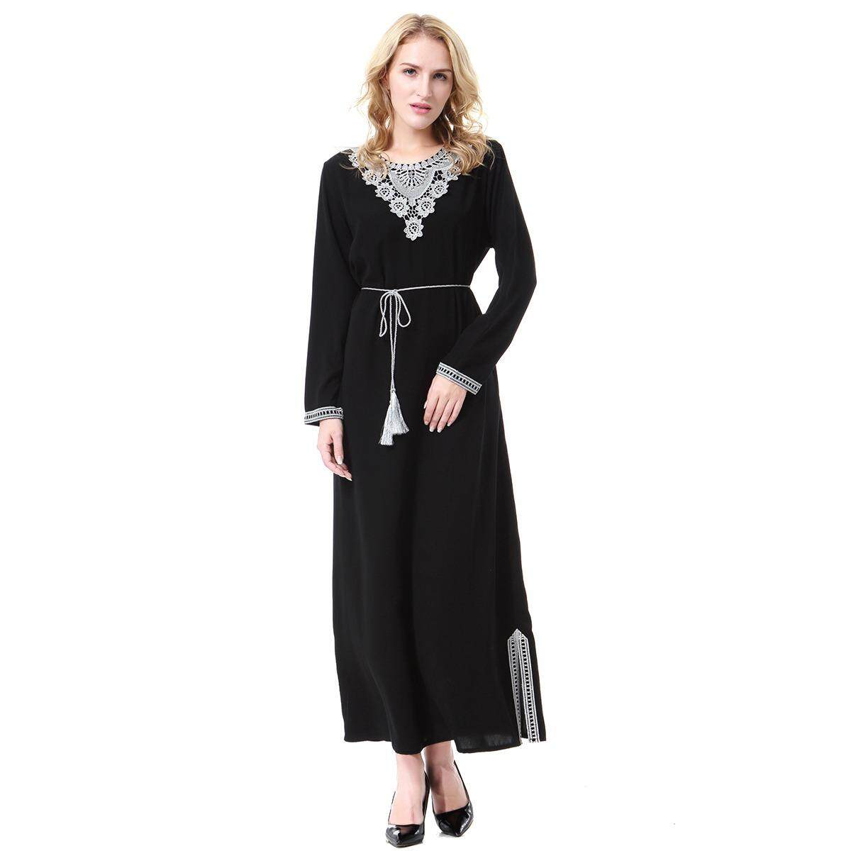 Kualitas Tinggi Busana Wanita Muslim Perak Pola Polyester Abaya Kaftan Lengan Panjang Islam Indonesia Gaun Panjang Jubah