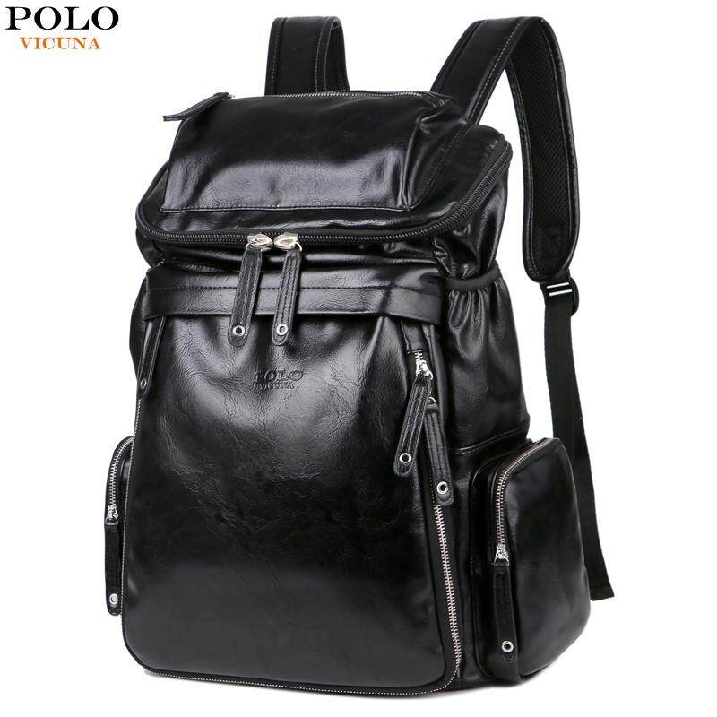 7cfb66ebcef7 VICUNA POLO Fashion Large Capacity Black Rucksack Men Travel Bag Leather  Backpack Men School Luggage For