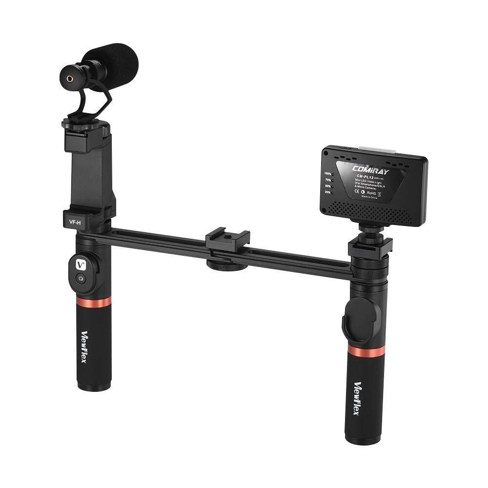 Viewflex VF-H7 Smartphone Video Rig Dual Genggam Pegangan Logam Perlengkapan Penstabil dengan Pengendali Jarak Jauh/Lampu Yang Bisa Diredupkan/Mikrofon untuk iPhone 6 6 S Plus untuk samsung GALAXY S8 + S8 Note 3 Huawei