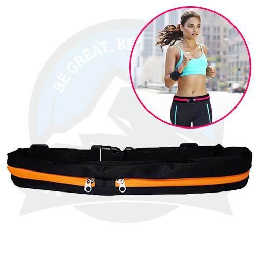 Outdoor Sports Riding Running Belt Jogging Belt Double-Zip Pockets Waist Belt Phone Bag - Orange