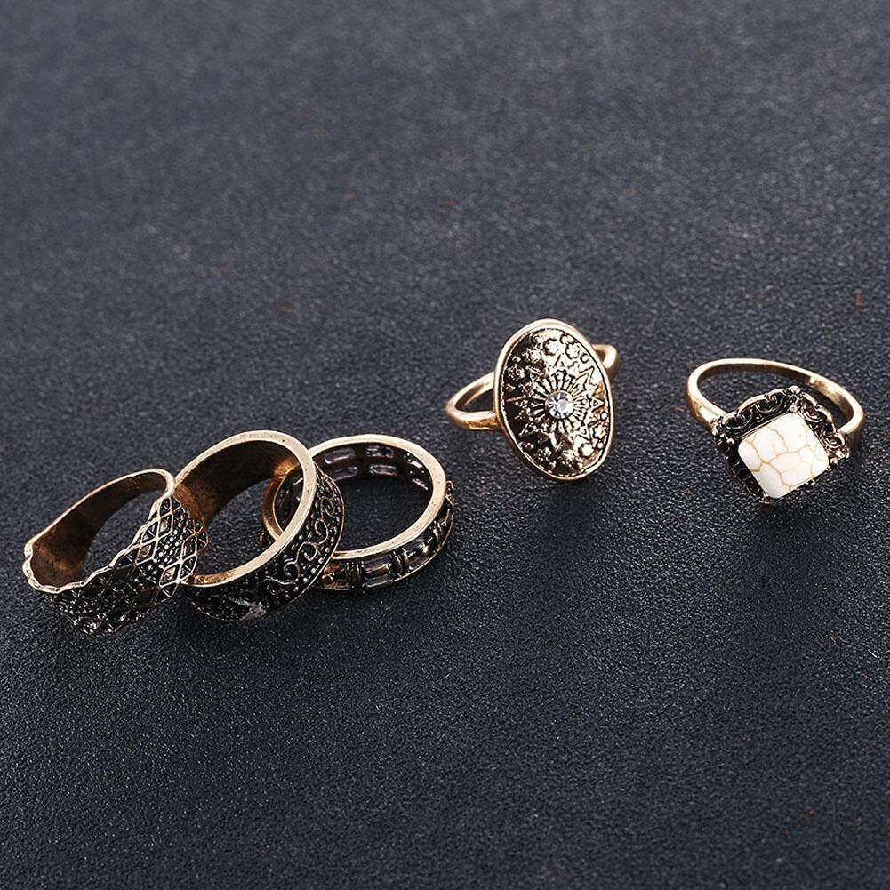Classic Flute Rings 5 Pcs Magazine Star Big Rings Set Festivals Tide Ring - 2