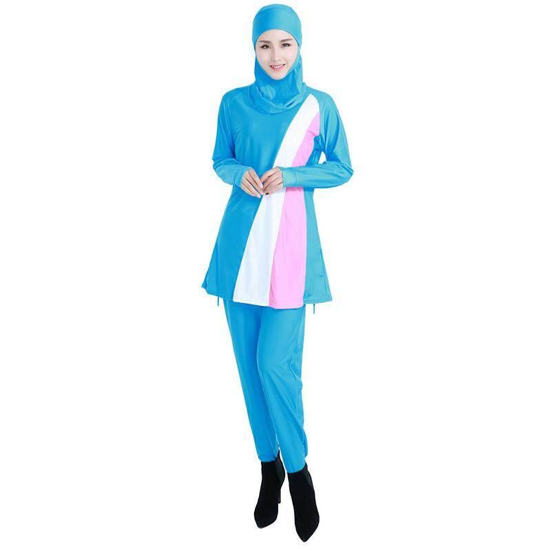 Litao Wanita Plus Ukuran Muslim Baju Renang Pantai Mandi Setelan Wanita Konservatif Muslimah Baju Renang Islami Berenang Berselancar Pakaian Olahraga Pakaian Biru s-Internasional