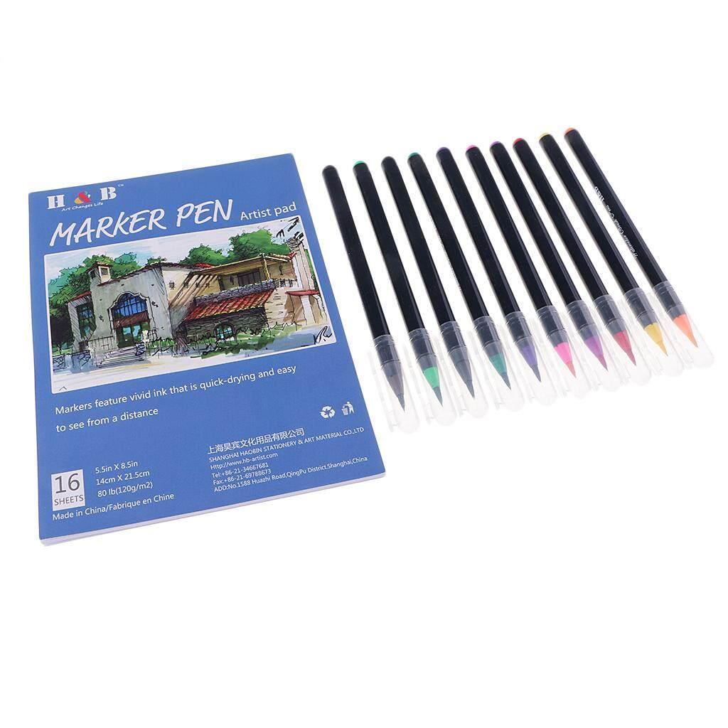 Bolehdeals 10 Coloured Watercolor Marker Pen Soft Brush Calligraphy Sketch Drawing Art + 1 Sketch Book Drawing Pad Artist Painting Supplies By Bolehdeals.
