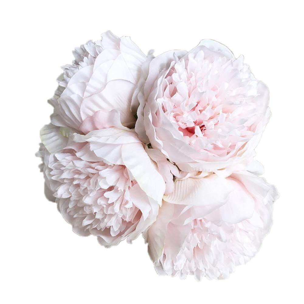 1 Buket 5 Kepala Buatan Peony Sutra Bunga Daun Rumah Pesta Pernikahan Dekorasi-Internasional