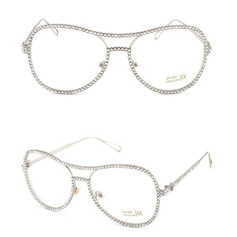 Pencarian Termurah Women Oversized Metal Frame Clear Lens Rhinestone Eye Glasses Nerd Spectacles sale - Hanya Rp115.555