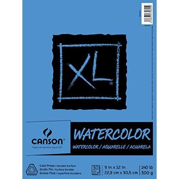 Canson XL Series Watercolor Textured Paper Pad for Paint, Pencil, Ink, Charcoal, Pastel, and Acrylic, Fold Over, 140 Pound, 9 x 12 Inch, 30 Sheets - intl