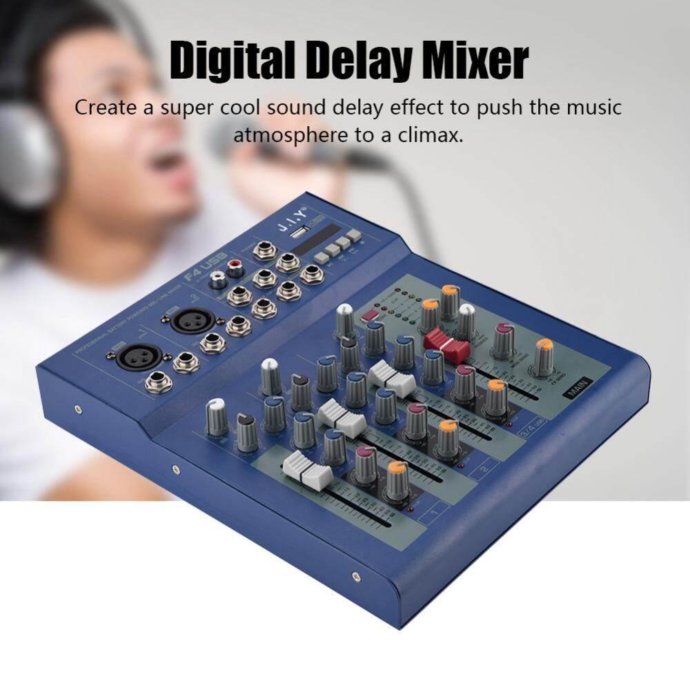 Digital Karaoke Mixer 4-channel Digital Mixer XLR/LINE Output 48V Phantom Power Sound Mixer Amplifier for Bar Stage - intl