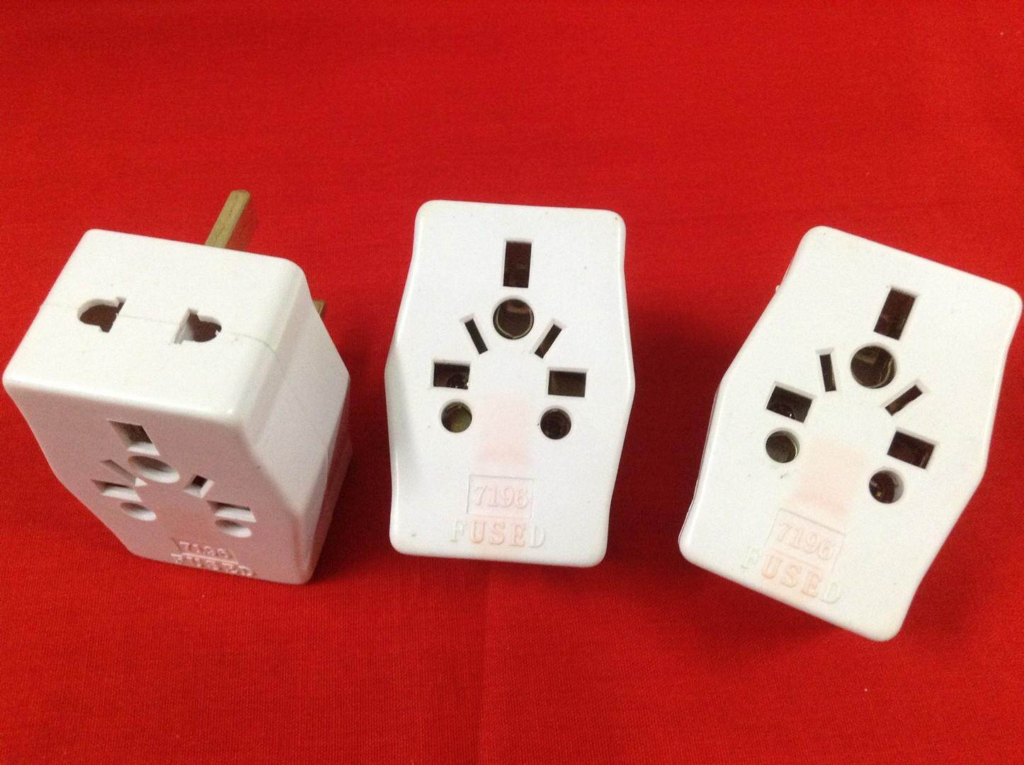 3 pieces Travel 13 Amp 3 Pin Multi Socket with Fuse (White)