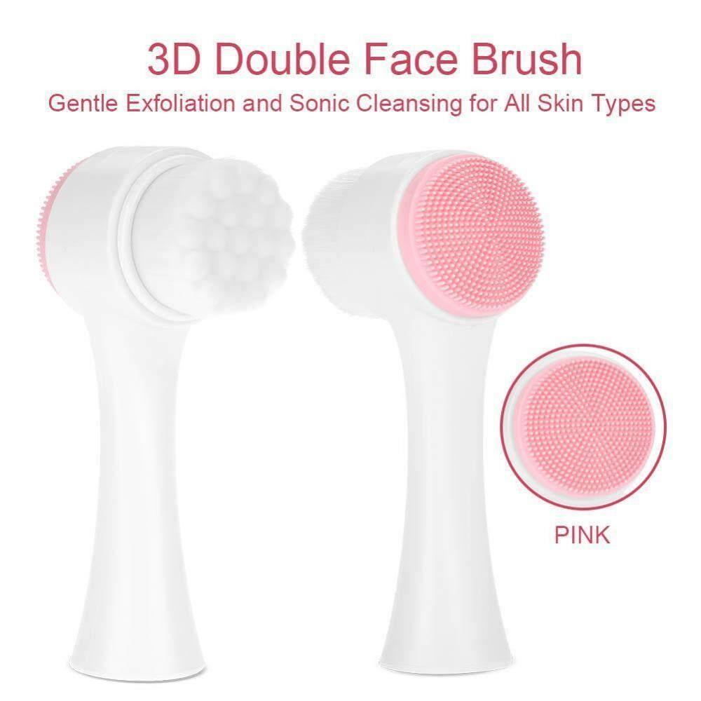 Kelebihan Double Sides Manual Silicone Facial Cleansing Brush Sikat Alat Makeup Pembersih Muka Minigood 3d 60966 Fashion Face Exfoliating Grease Removal Massage Tool Pink Intl