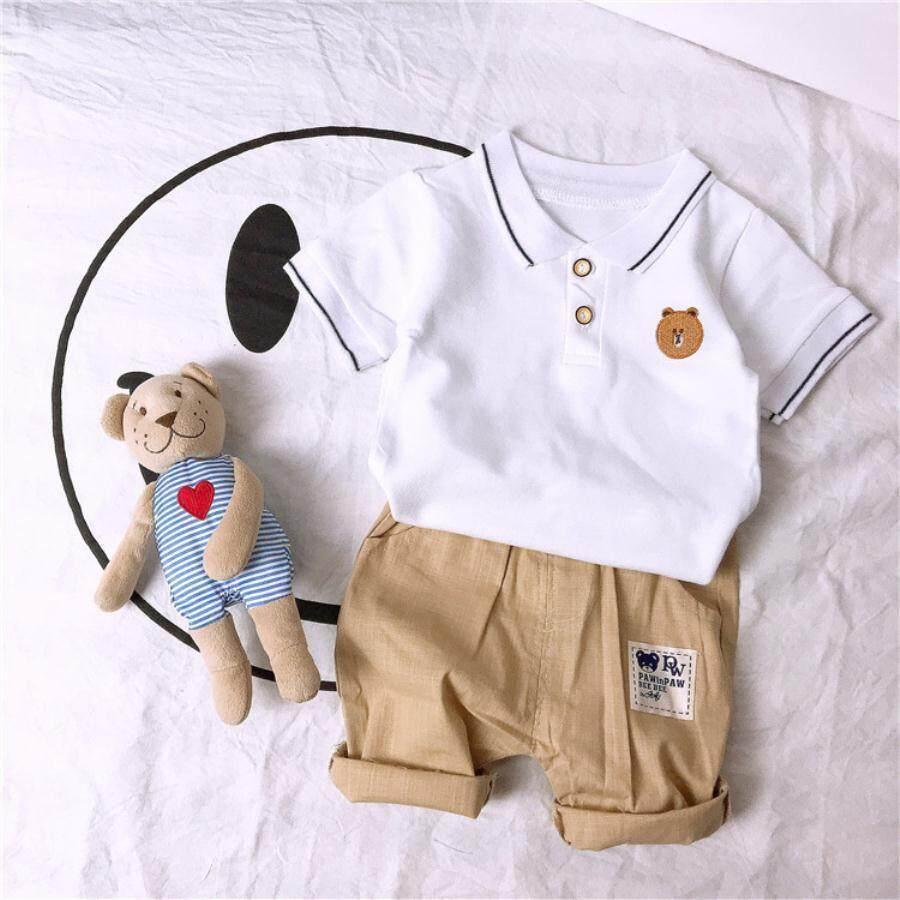 90624172 Boys Clothing Sets Summer Baby Bear Badge Polo Shirt Tops+shorts 2pcs  Clothes For Boys