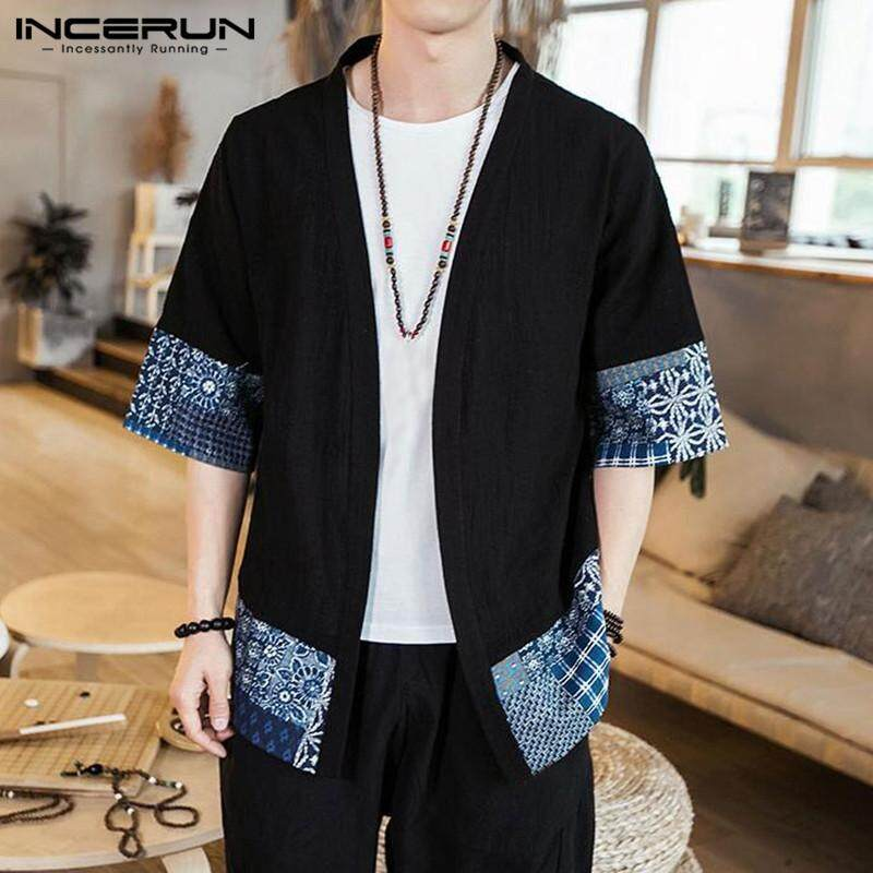 Incerun Men Casual Short Ethnic Sleeve Kimono Japanese Style Front Open Coat Jacket By Five Star Store.