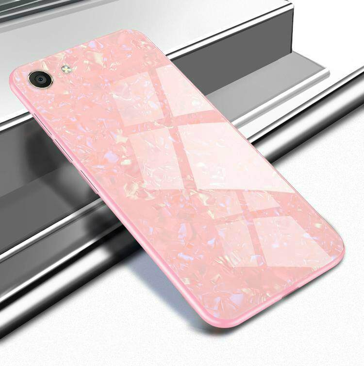 For VIVO Y71 Luxury Hard Tempered Glass Case Marble Shell Pattern Design Glass Back Cover for