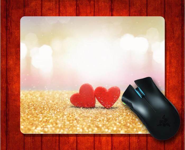 Mouse Pad dengan Hati Merah Latar Belakang Bokeh Gambar untuk Alas Mouse Desain Gambar Alas Mouse Permainan 9.5X7.9 Inch (240X200X3 Mm) -Intl