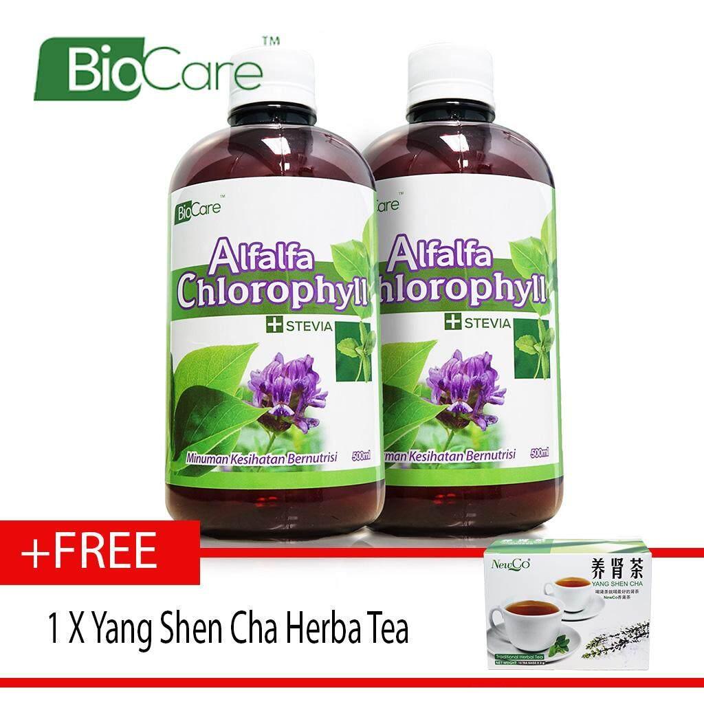 Biocare Alfalfa Chlorophyll Stevia 2 X500ml FREE YANG SHEN CHA
