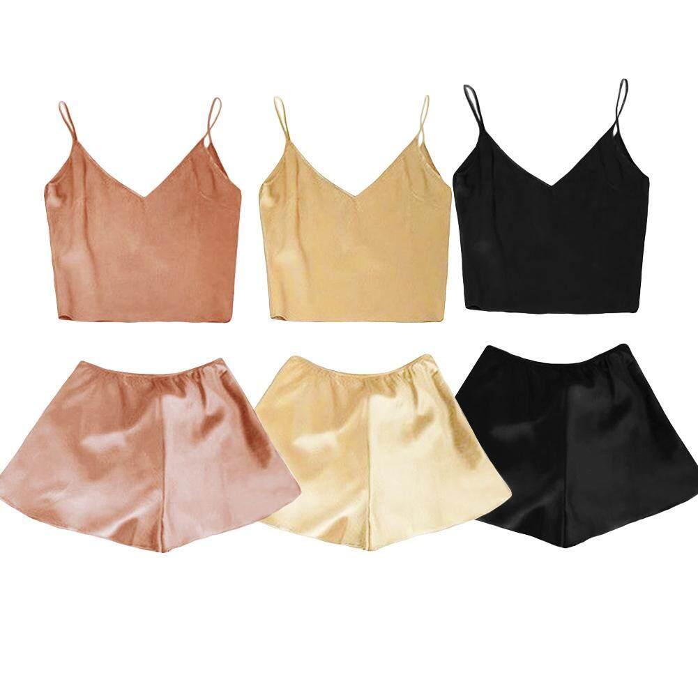 Women Silk Satin Pajamas Set Deep V Neck Cami Top Shorts PJ Set Sleepwear Nightwear