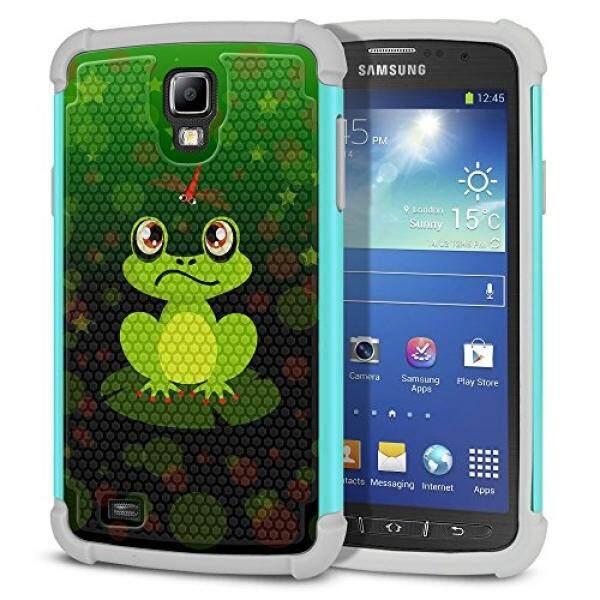 Smartphone Case S Case S Fincibo Galaxy S4 Aktif Case, dual Layer Casing Sepakbola Pelindung Hibrida Cover Tpu Shock Penyerap untuk Samsung Galaxy S4 Aktif I537 I9295-Katak dan Dragonfly Latar Belakang Hijau -Intl