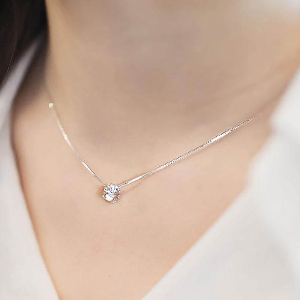 Zirkon Berlian Imitasi Kalung Kalung Berlian Berkilau Rantai Perak Wanita Sederhana Aksesori Perhiasan Trendi Hadiah-Intl