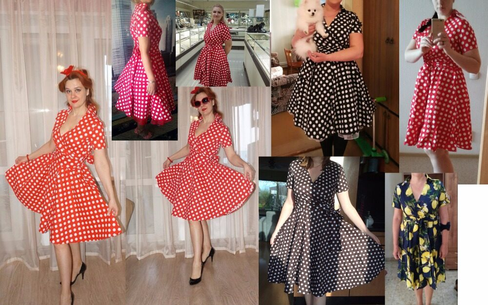 ce57bde2f4 Kenancy Women Retro Dress 50S 60S Vintage Rockabilly Swing Feminino  Vestidos V Neck Short Sleeves Dot Print Dress