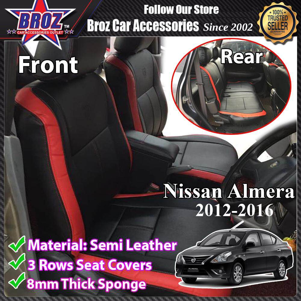 CUSTOM FIT OEM CAR SEAT OR CUSHION COVER NISSAN ALMERA SEMI-RED AND BLACK PVC LEATHER