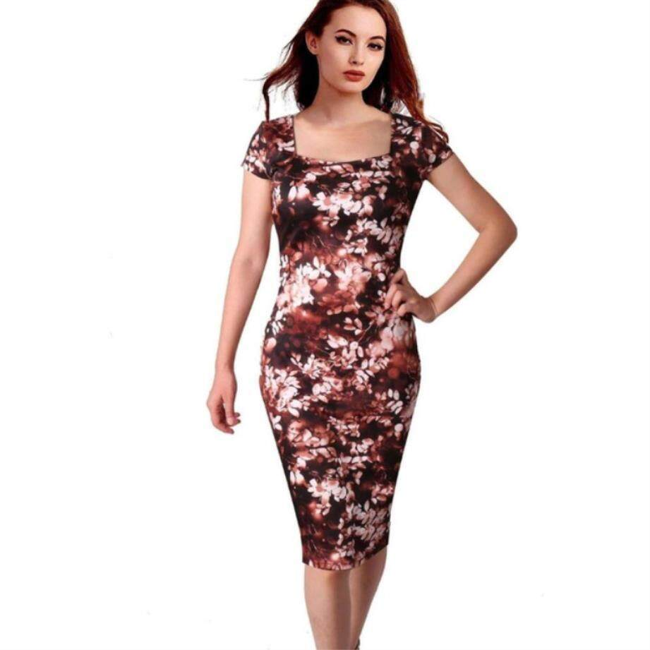 Zzooi Gaun Kasual Ukuran Plus Pesta Musim Panas Di Atas Lutut Vestidos Cetak Motif Bunga Gaun