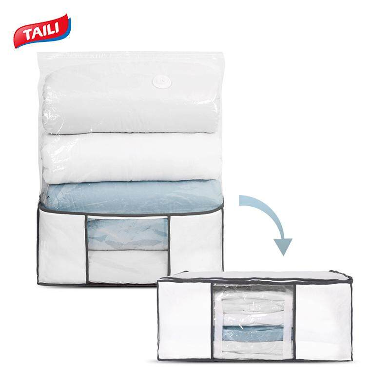 "TAILI Vacuum Storage Organizer Bag Jumbo (Box(26x20x11))Space Saver bag Included (Bag(43""x39""x9"")), Closet, Under Bed Organizers for Clothes, Duvets, Comforters, Blankets, Bedding, Classic White"