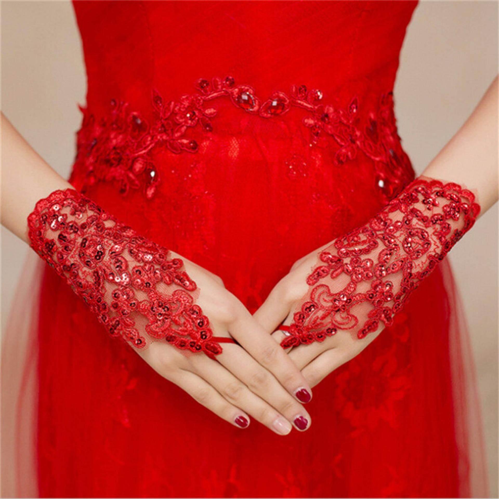 ดอกไม้ข้อมือถุงมือลูกไม้เจ้าสาวถุงมืองานแต่งงานชุดย่อหน้าสั้น Mitts สีแดง By Beautiful Speace.