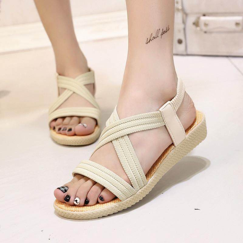 ffff7c3c6 Women shoes summer Elastic band slip on platform Flip Flops Flat Sandals  Gladiator for women