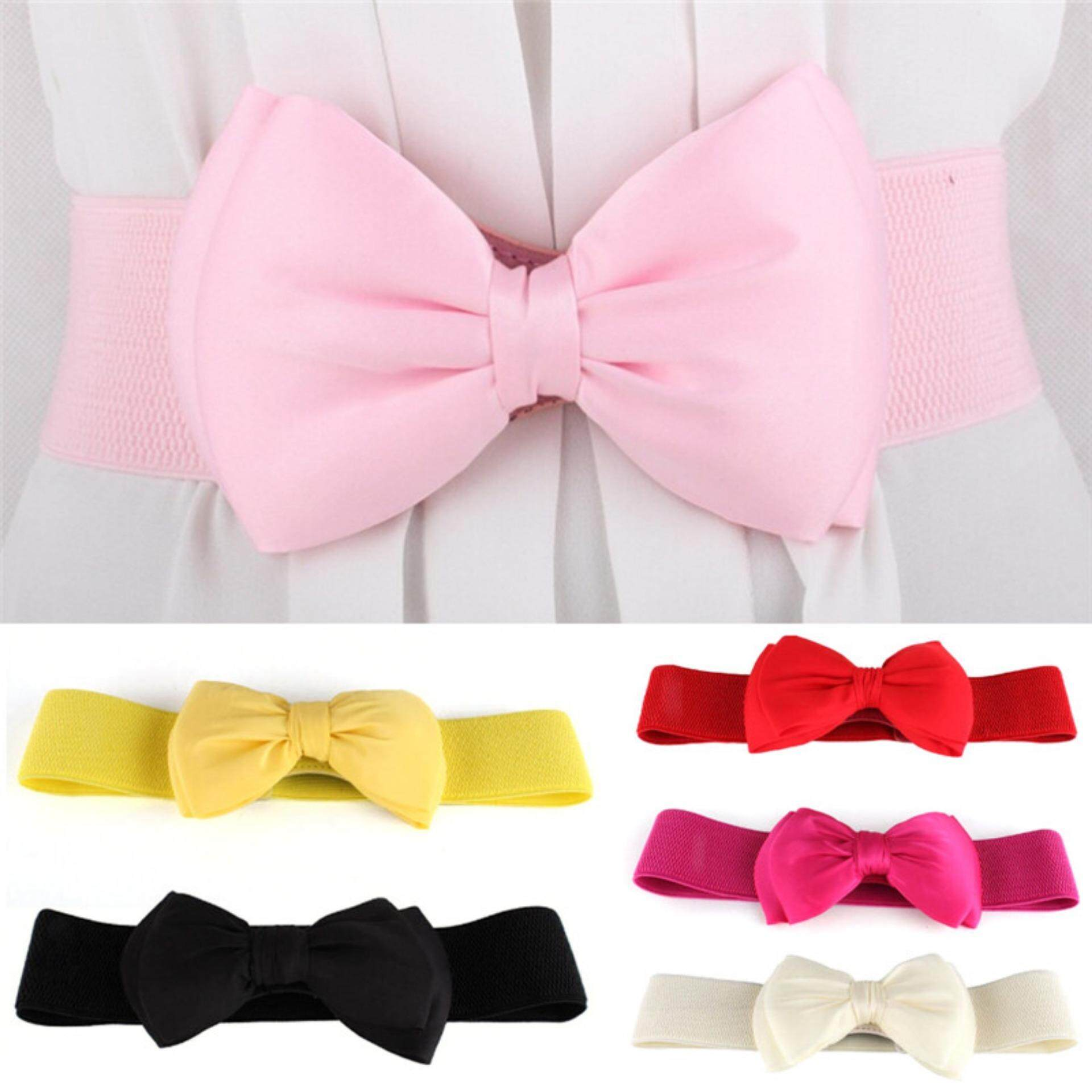 Big Bow Waistband Elastic Wide Dress Stretch Designer for Girls Cinch Belt Decoration .