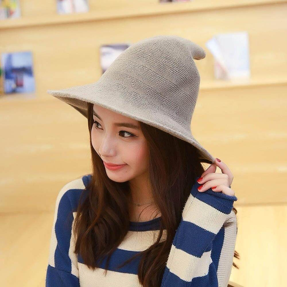 8f498ab751511 Jnan Wool cap knitting fisher hat autumn and winter female fashion witch  pointed bucket hat Christmas