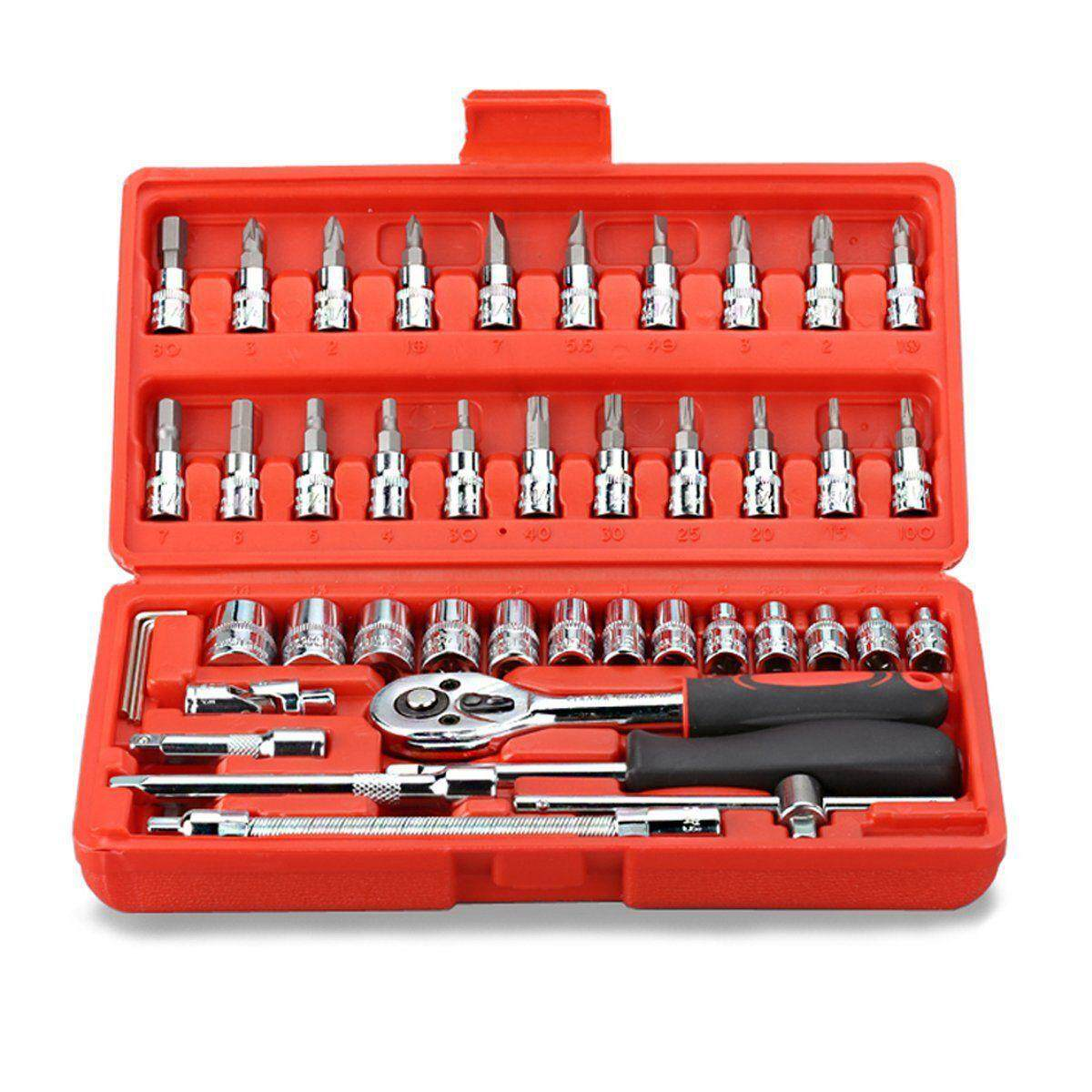 46pcs 1/4-Inch Socket Set Car Repair Tool Ratchet Torque Wrench Combo Tools Kit Auto Repairing - Intl By Sunnny2015.