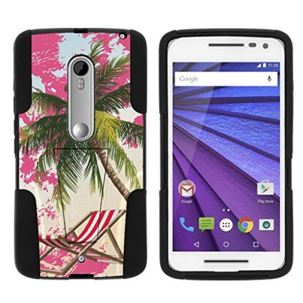 Smartphone Cases Cases TurtleArmor Motorola X Play Case Motorola Droid MAXX 2 Case [Gel Max Cover] Combo Hybrid Case Hard Shell Kickstand Impact Absorber Silicone Layer Beach Design - Pink Sand Palm Tree - intl