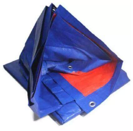 LittleThingy 15ft x 18ft Canvas Groundsheet Shelter Canopy (Blue/Orange) Cover for Vehicles / Garden / Painting Shields