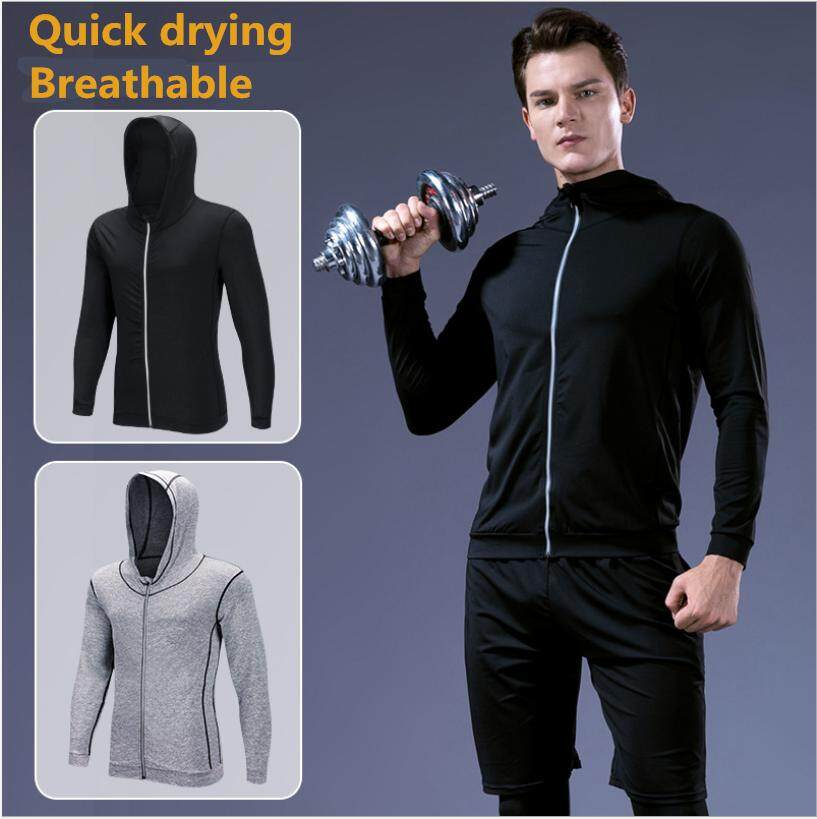 Jaket Olahraga Pelatihan Lari Kebugaran Lengan Panjang Gym Zipper Hoodie Kasual Cepat Kering Jaket