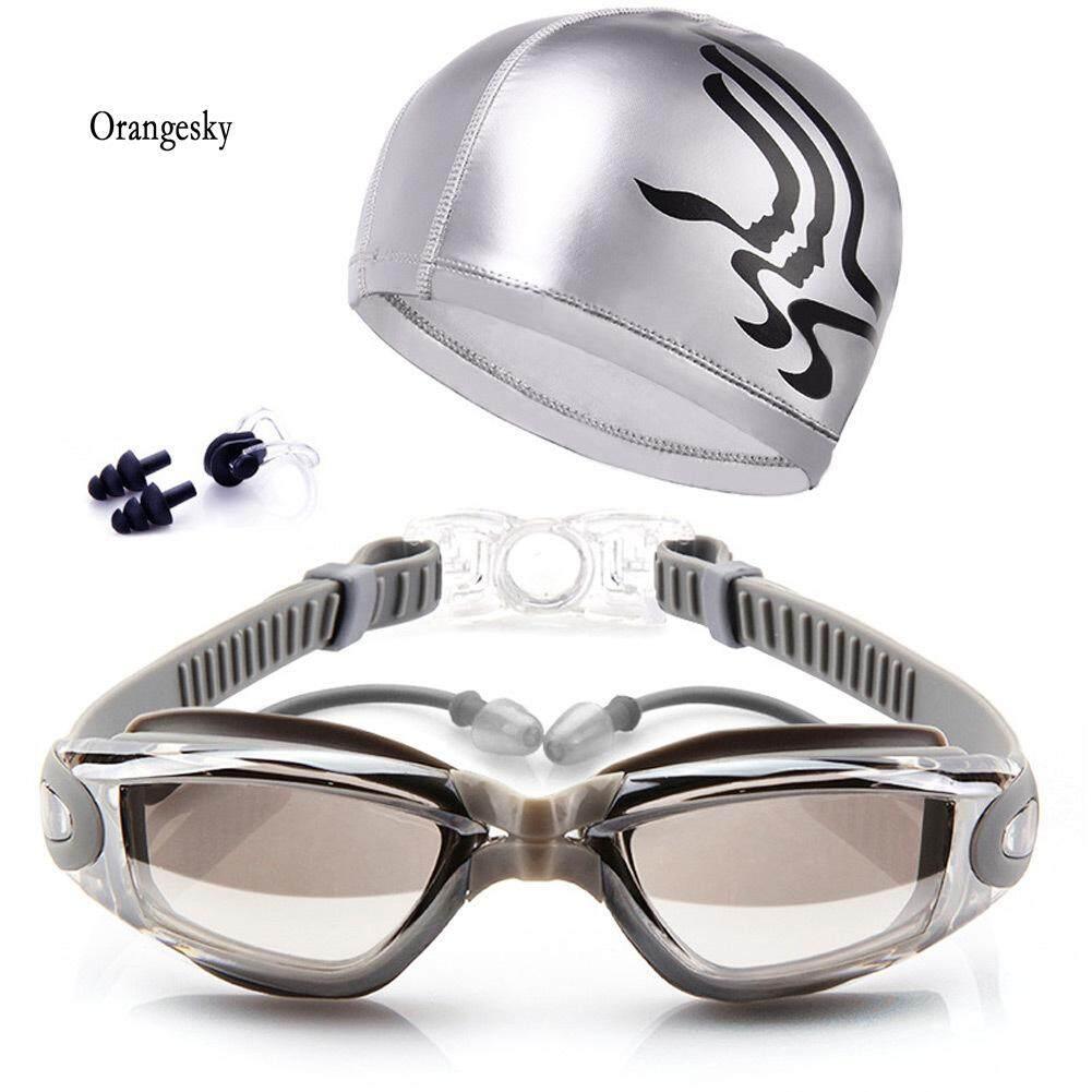 Orangesky แว่นตาว่ายน้ำผู้ใหญ่ชุดเคลือบเลนส์ป้องกันหมอกแว่นตาว่ายน้ำ + หมวก + + คลิปหนีบจมูก + ปลั๊กอุดหู By Orangesky.