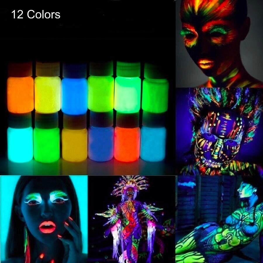 12 cái x 25 gam Phát Sáng Mặt Cơ Thể Sơn Phát Sáng Trong Bóng Tối UV Đèn Neon Huỳnh Quang cho Đảng & halloween Trang Điểm Body