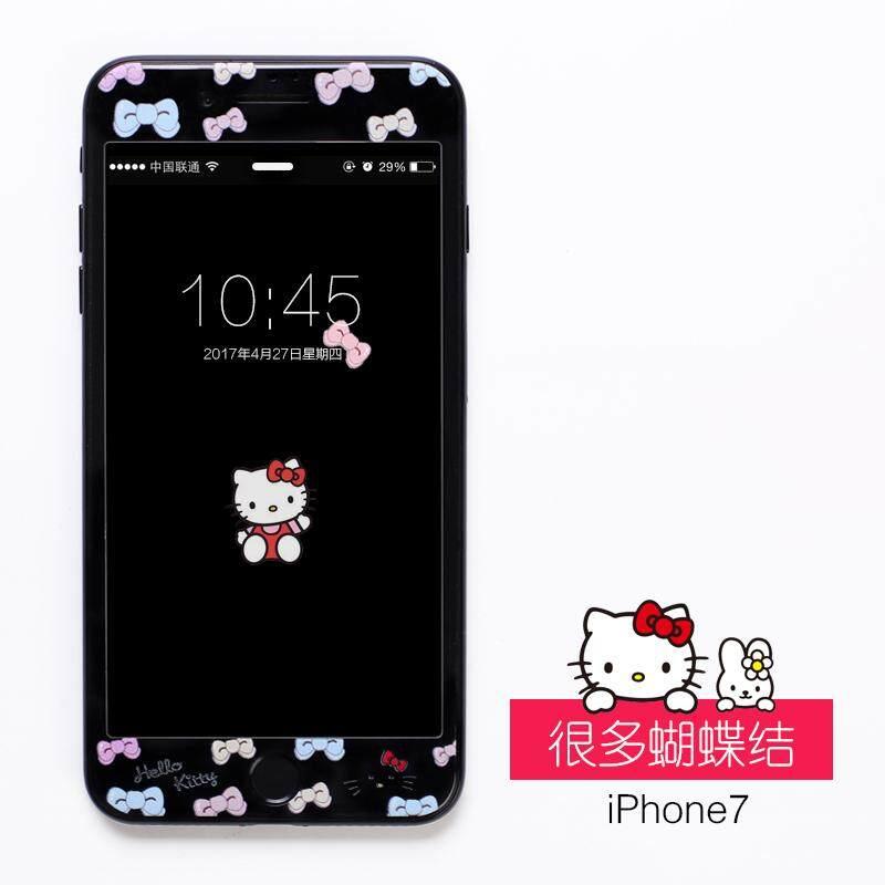 HelloKitty Kaca Pelindung Layar Iphone7 Menutup Penuh Pelindung Layar Berwarna 7 Plus Sisi Hitam Apple Identitas