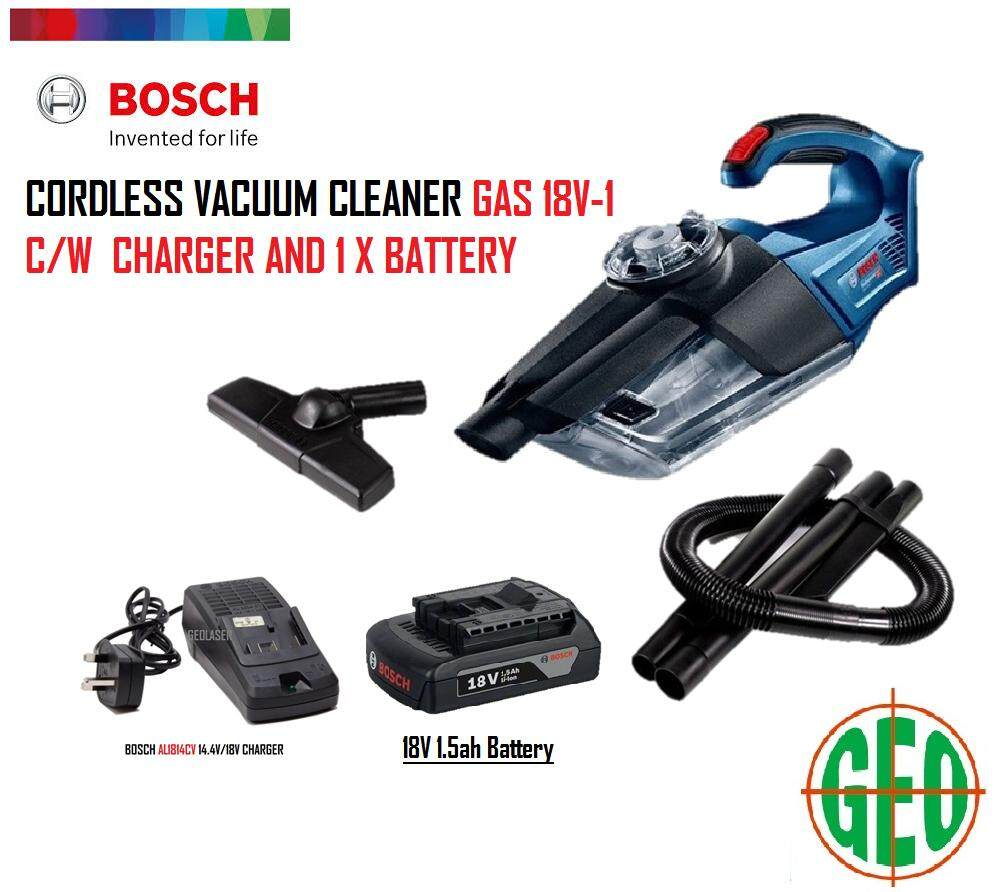 BOSCH GAS 18V-1 CORDLESS VACUUM CLEANER C/W 1 X 1.5AH BATTERY AND 1814CV CHARGER [ GEOLASER ]