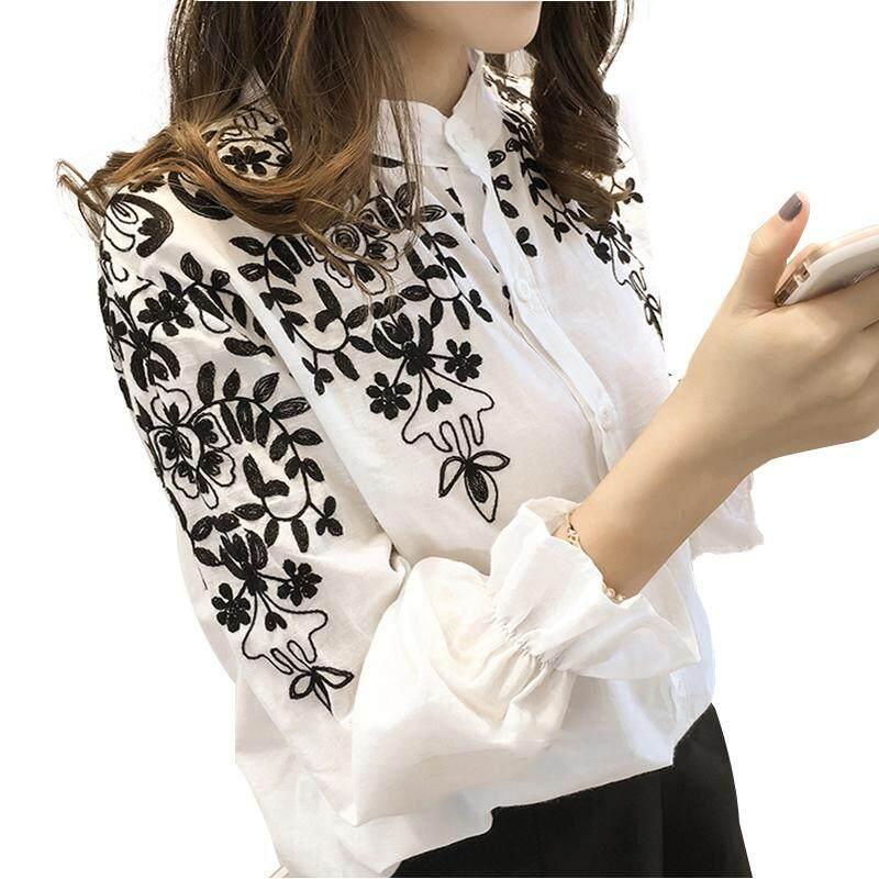 Produk Baru 2018 Fashion Bordir Wanita Pakaian Lengan Panjang Kasual Blus Perempuan Kemeja Kantor Wanita Atasan