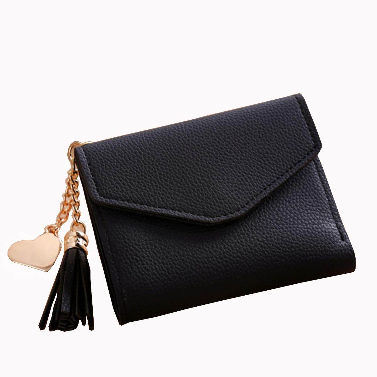Women Mini Tassel Wallet Card Holder Clutch Coin Purse Leather Handbag Purse#black - intl