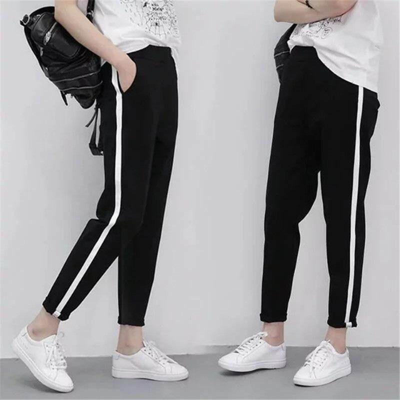b97fda3cb1db Thin section sports pants female large size loose student trousers casual feet  harem pants nine points