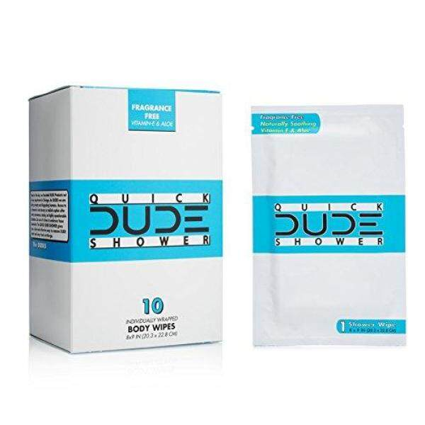 Buy (USA)DUDE Shower Body Wipes 10 Count Wet Wipes Individually Wrapped for Travel Unscented Naturally Soothing Aloe and Hypoallergenic, Portable Travel-Sized Individual Cleansing Cloths for Men Singapore