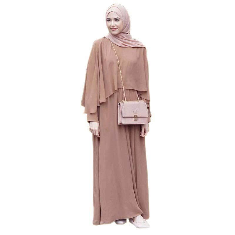 Fashion Women Muslim Cloak Dress Pure color Malaysia Abayas Long Sleeve Robes