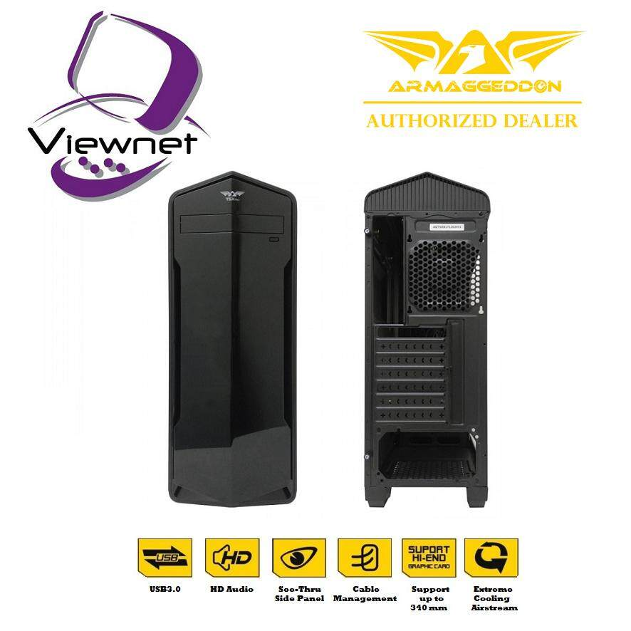 GENUINE ARMAGGEDDON ATX T5X PRO SMART GAMING STRUCTURE PC CHASIS WITH BOTTOM MOUNT PSU DESIGN FULL VIEW TRANSPARENT FRONT AND SIDE PANEL DESIGN Malaysia