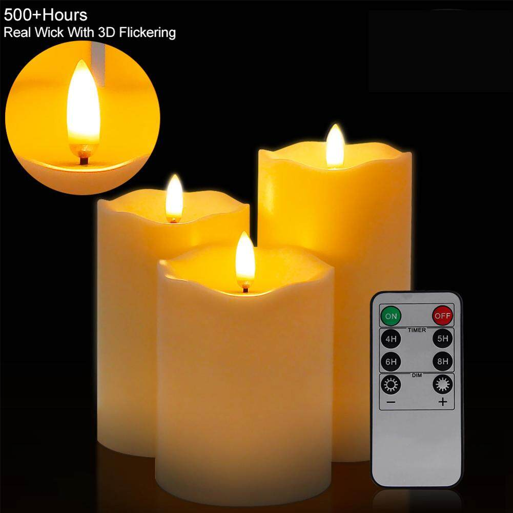 LB 3Pcs/Set Flameless Candle Shape Lamp with Remote Control Warm Yellow Light Night Light