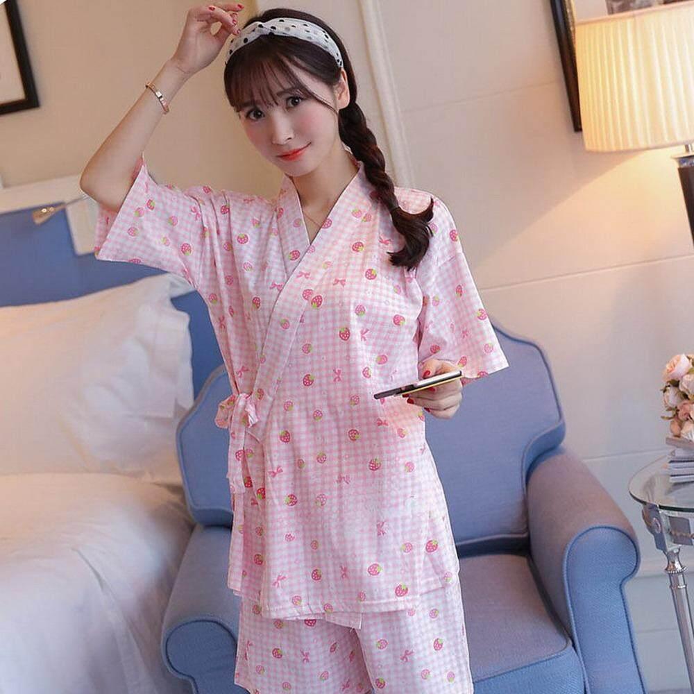 985843f485 Kimono Cherry Blossom Cute Rabbit Pajamas Set Kimono Suit Thin 100% Cotton  Short Sleeve Top